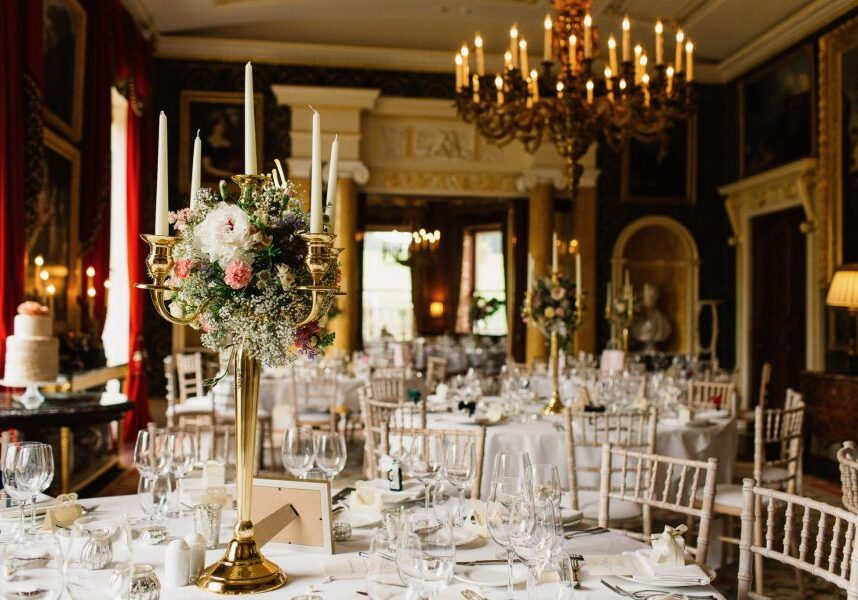 broughton hall red drawing room celebration setup